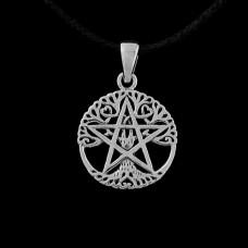 Open Levensboom Pentagram Hanger Zilver Klein