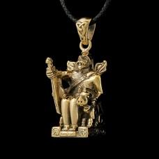 Bronzen Hanger Freyr Zittend