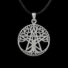 Open Levensboom Pentagram Hanger Zilver