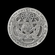 Broche Maansikkel Pentagram met Opdracht van de Godin Zilver