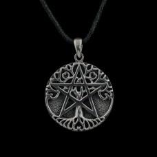 Levensboom Pentagram Hanger Zilver