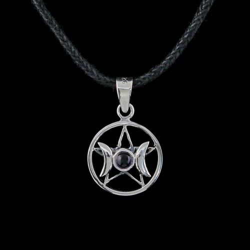 Hanger Drievoudige Godin Pentagram Zilver met Amethist