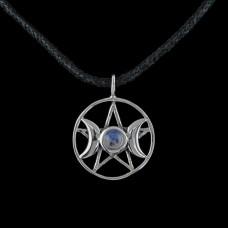 Hanger Drievoudige Godin Pentagram Zilver met Edelsteen