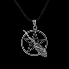 Hanger Pentagram met Bezem Zilver