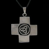 Hanger Kruis met Triquetra Zilver
