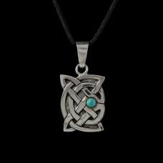 Hanger Keltische Knoop met Turkoois Zilver