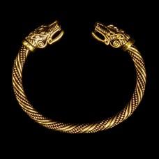 Viking Armband Wolvenkoppen Goudkleurig