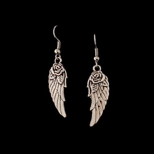 Oorbellen Vleugel met Roos Zilverkleurig