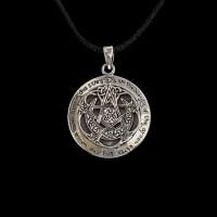 Hanger Maansikkel Pentagram met Opdracht van de Godin Zilver