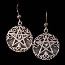 Oorbellen Levensboom Pentagram Zilver