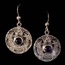 Oorbellen Maansikkel Pentagram Zilver met Edelsteen