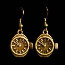 Oorbellen Horloge Bronskleurig